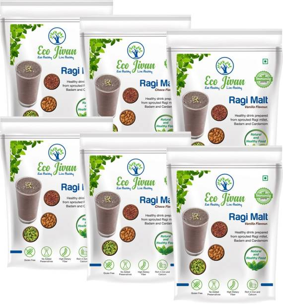 ECO JIVAN INSTANT RAGI MALT COMBO PACK - SUGAR FREE NATURAL, CHOCO FLAVOUR AND VANILLA FLAVOUR (Pack of 6, 200 g Each) 1200 g