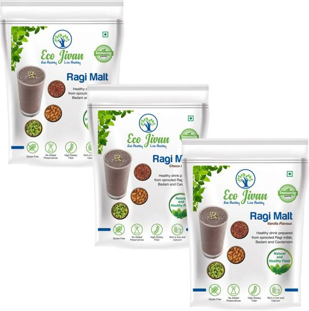 ECO JIVAN INSTANT RAGI MALT COMBO PACK - NATURAL WITHOUT SUGAR, CHOCO FLAVOUR AND VANILLA FLAVOUR (Pack of 3, 200 g Each) 600 g