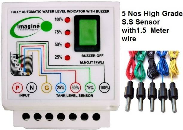 Imagine Technologies IT74WLI Fully Automatic Water Level Indicator with Alarm on Tank Full with 5 Sensors Wired Sensor Security System