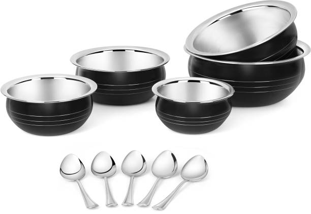 Classic Essentials Stainless Steel Stylish and designer Food Handi Serving Set of 5 with 5 Serving Spoon 350ml,550ml,750ml,1200ml,1650ml Bowl, Spoon Serving Set