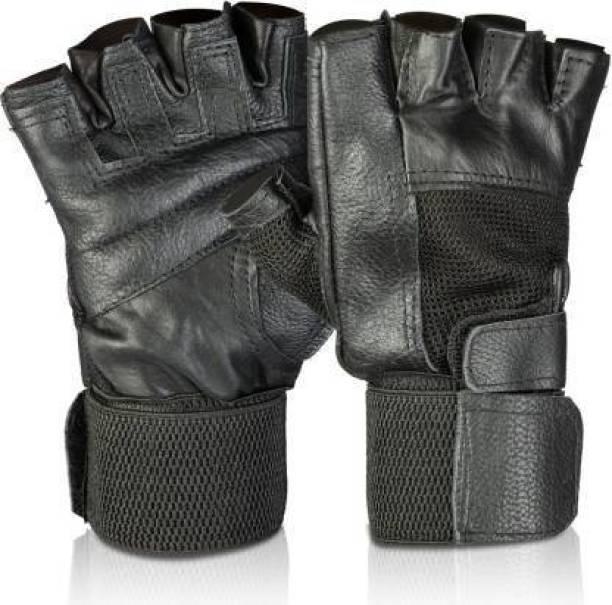 Manogyam Basic Leather with inbuilt Wrist Support Gym & Gym & Fitness Gloves