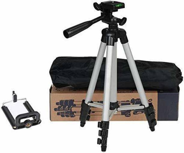 ghar ki khushiya GHARKIKHUSHIYA Portable Aluminum Lightweight Camera Stand Tripod-3110 With Three-Dimensional Head & Quick Release Plate For Video Cameras and mobile clip holder for Mobiles & Smartphones Tripod (Silver, Black, Supports Up to 1500 g) Tripod