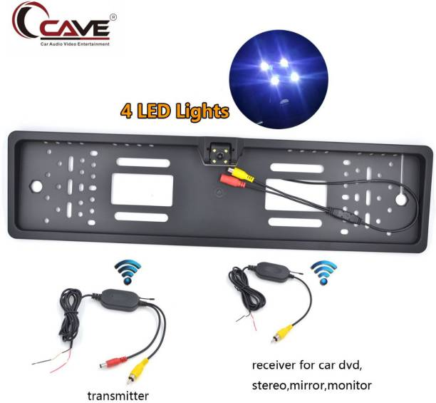 Cave Car Number Plate LED Night Vision Camera With Number Plate Frame For Reverse Parking and Rear View - Universal Car License Number Plate Frame with Night Vision 170° Waterproof Rear View Camera NPC-RJ Vehicle Camera System