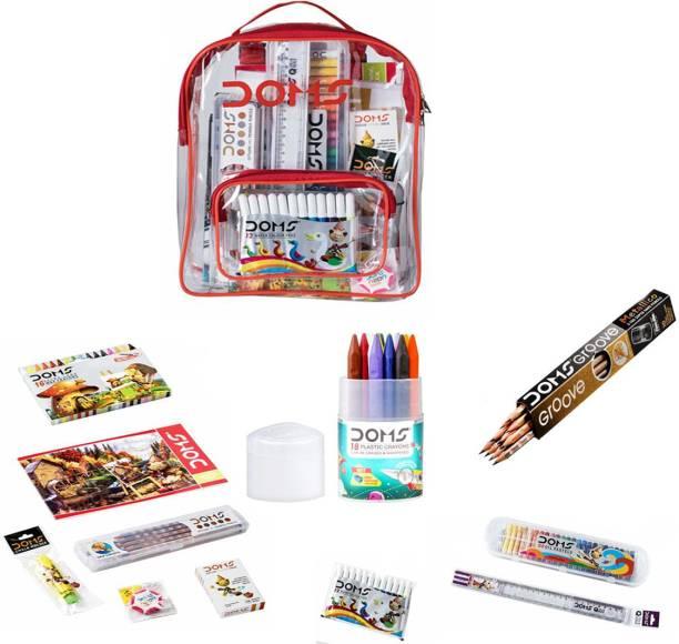 DOMS Smart Kit school accessories Transparent Zipper Bag Art Set for Kids