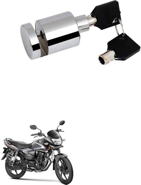 AXEWALL Heavy Duty Stainless Steel Chrome Security Anti-Theft Lock for Motorcycle and Bicycle Disk Brake Safety Lock Honda CB Shine Disk-Round-Lock-Bike 053 Disc Lock