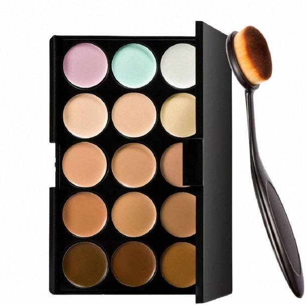 Miss Hot 15 Colors Contour Face Cream Makeup Concealer Palette + Oval Make up Brush