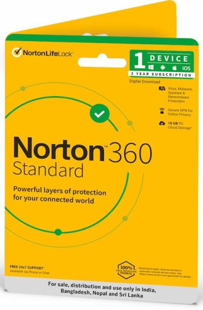 Norton 360 Standard 1 PC 3 Years Total Security (Email Delivery - No CD)