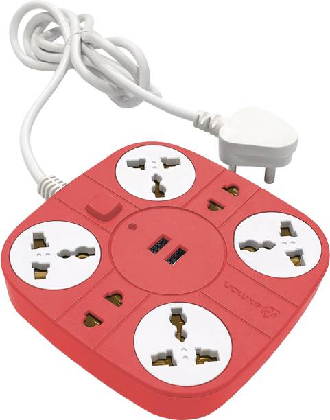 Axmon Extension Cord with 2 USB Charging Ports and 6 Socket - 10 Amp Heavy Duty Multiplug Extension Board for Multiple Devices Smartphone Tablet Laptop Computer - Red 10 A Five Pin Socket