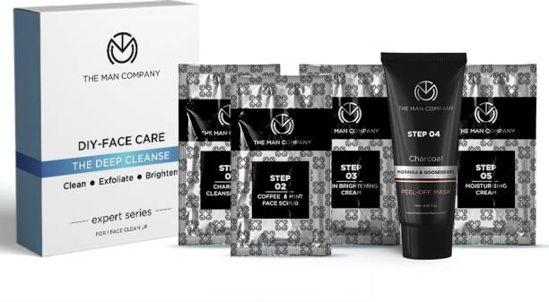 THE MAN COMPANY DIY- Face Care Deep Cleanse (moisturising cream 2.5 g, cleansing gel 5gm, scrub 5 gm, peel off mask 15 gm, brightening cream 2.5 g)