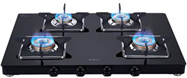 Elica Slimmest 4 Burner Gas Stove with Square Grid and Brass Burner (694 CT VETRO (SLIM LINE SPF 2J)) Stainless Steel Manual Gas Stove