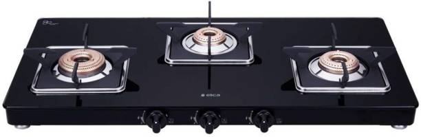Elica Slimmest 3 Burner Gas Stove with Square Grid and Brass Burner (773 CT VETRO (Slim LINE SPF)) Stainless Steel Manual Gas Stove