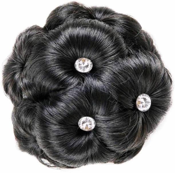 Shivarth Artificial Juda Hair Accessories For Women and Girls with Stone Work Juda For Festives Designer Stone Bridal Wedding Juda Hair Extension Black & Brown Color Bun