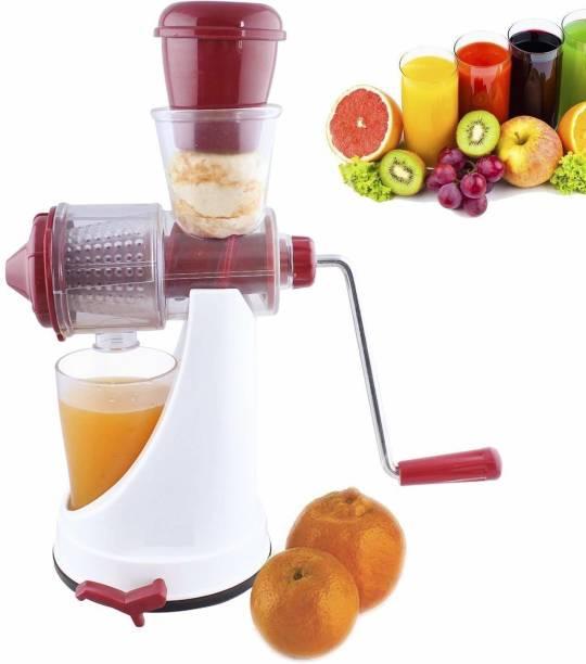 MOONZA Plastic Hand Juicer Mini Juicer Machine, Juice Maker Machine for Home, Deluxe Fruit & Vegetable Manual Juicer with with Steel Handle