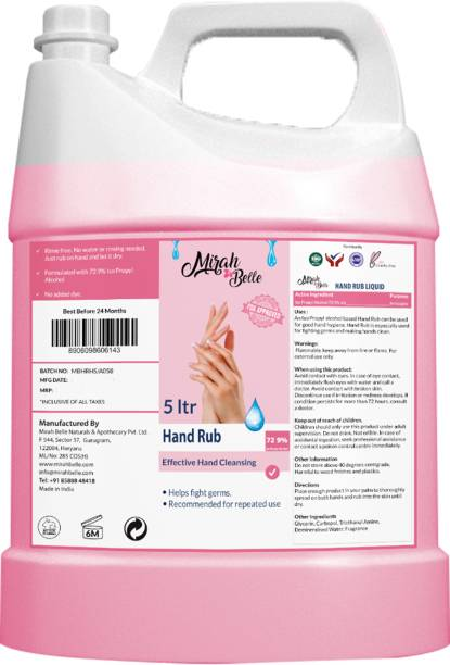 Mirah Belle Hand Rub Sanitizer - (5 Ltrs) - Vegan, Cruelty Free - Best for Men, Women and Children - Sulfate and Paraben Free Hand Cleanser Refill Pack Hand Rub Can