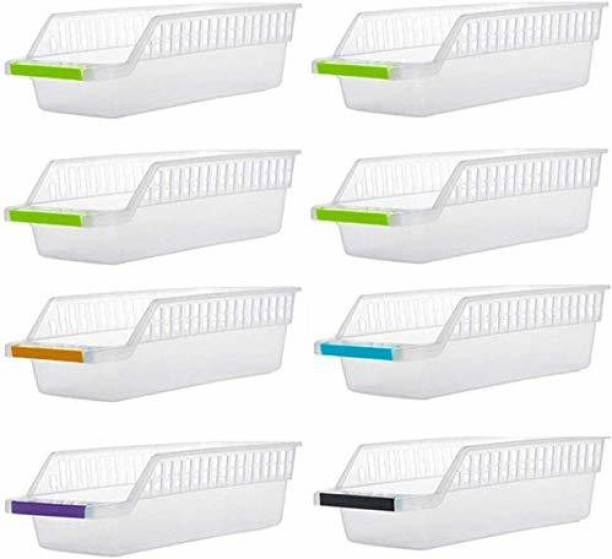 Jensi 8 Pcs Plastic Fridge Space Saver Organizer Storage Rack Tray Box Refrigerator Storage Organisers for Fruits, Vegetables, Cold Drink - 100 ml Plastic Container Storage Basket Storage Basket Storage Basket