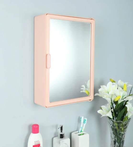Zahab Bathroom Cabinets for Storage with Mirror Door (12 x 4X 16) inch Pink Dual Mount Medicine Cabinet