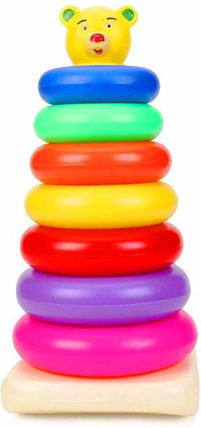 U Decide Plastic Teddy Stacking Ring Jumbo Stack up Educational Toy Multicolour Rings Tower Construction Toys Set