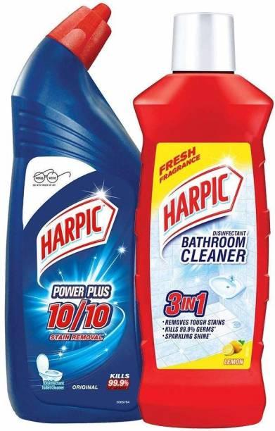 Harpic Bathroom Cleaner (Lemon) 500 ml and Powerplus Toilet Cleaner Original 500 ml Lemon Liquid Toilet Cleaner
