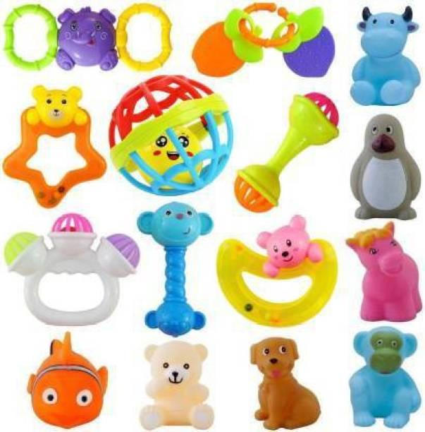 shreeji market 15 Pcs Set of Rattles, Teethers and Animal Shape Bath Toys Rattle (Multicolor) Bath Toy