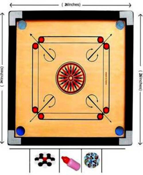 Domini Finish 26 Inch Carrom Board with Plastic Coins Striker Powder (Medium Size) 70 cm Carrom Board