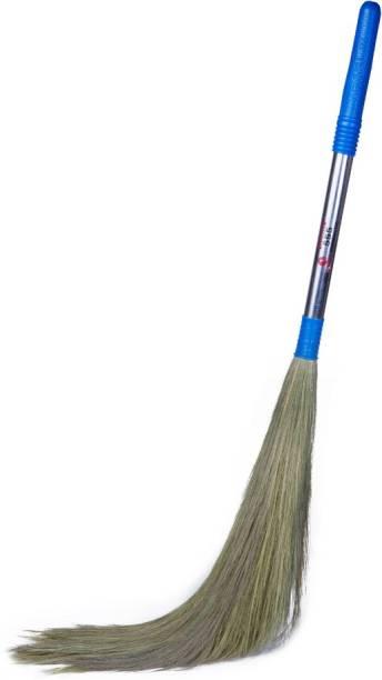 Monkey 555 International Steel Handle Grass Broom for Sweeping Floor Grass Dry Broom