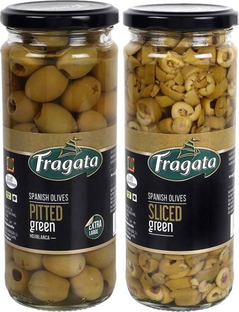 Fragata Pitted Green Olives 440g & Olives Sliced Green 450g Olives for Pizzas and Salads Olives