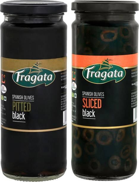 Fragata Combo of Pitted Black Olives 440g & Olives Sliced Black 430g Olives for Pizzas and Salads Olives