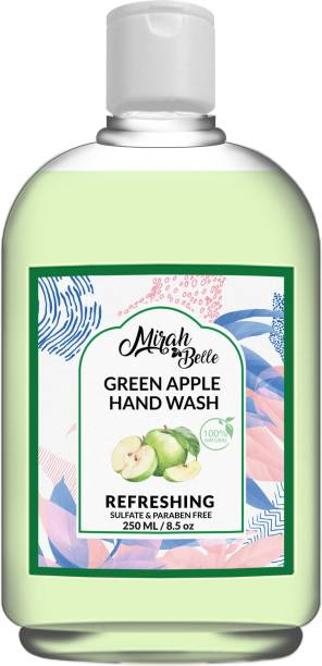 Mirah Belle Green Apple Hand Wash (250 ml) - Sulfate & Paraben Free - Vegan, Natural, SLS, GMO-Free Hand Wash Bottle