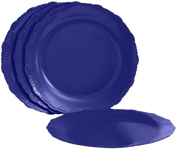 Cutting EDGE Designer Plates (Dark Blue) Set of 4 (Plastic) Dinner Plates for Families | Daily Use | Parties | Unbreakable | Kid Friendly | Microwave Safe | Dishwasher Safe | (Fancy) Dinner Plate