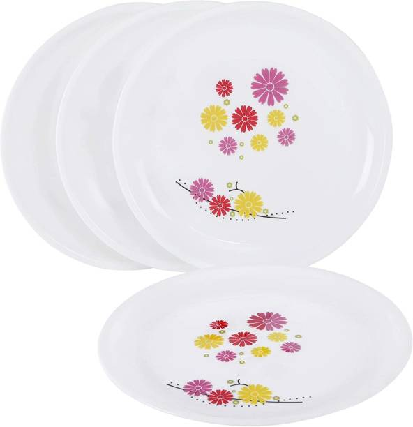 Cutting EDGE Round Colorful Set of 4 Dinner Plates with Floral Printed Design for Families | Parties | Unbreakable | Kid Friendly | Microwave Safe | Dishwasher Safe | Small | Lavender Dinner Plate