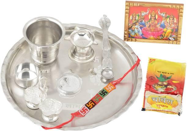 Memoir Memoir Silver plated 9 Pc Pooja Thali items aarti thali Silver Plated