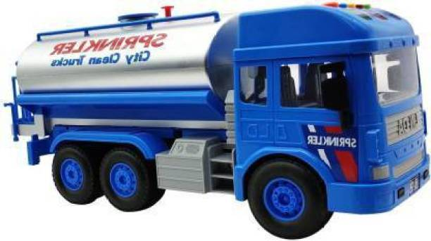 ZIQRA TOYS Friction Powered Water Sprinkler Tanker Truck Toy with Water Spray and Light & Sound Effects (Mulicolor)
