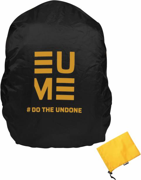 EUME Polyester 35 LTR Black Yellow Rain and Dust Cover with Pouch for Casual & Laptop Bag Cover