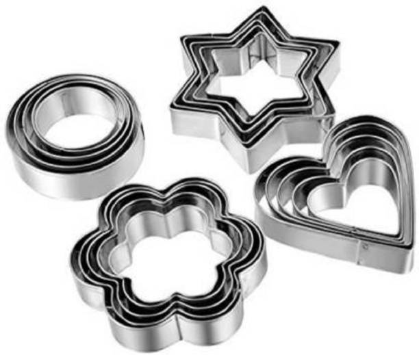 BIRDLINE Cookie Cutter 12 Pcs Set Pastry Fruit Molds Stainless Steel Heart Flower Round Star Biscuit Mould Fondant Cutting Cutters With 4 Shape, Pieces Piece Cutter, Metal Cake Vegetable Set, Hearts Flowers Stars Silver (Pack of 12) Shapes Mold Decorating Tools Cookie Cutter