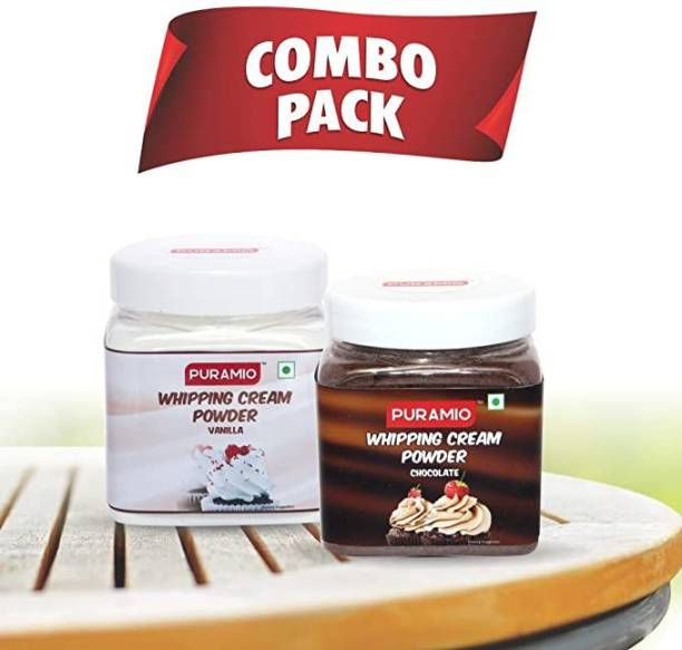 PURAMIO Combo Whipping Cream Powder Vanilla, 250g & Chocolate, 250g Flavour Icing