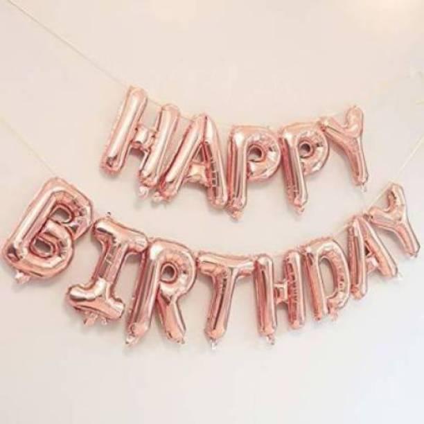 "OM Happy Birthday"" 13 Letters Set Foil Balloon (Rose Gold) Banner"