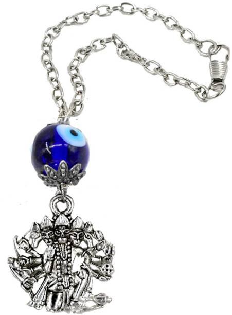 AFH Blue Evil Eye of Protection Panchamukhi Hanuman Car Hanging Charm Silver spiritual Hanging Ornament Car Hanging Ornament