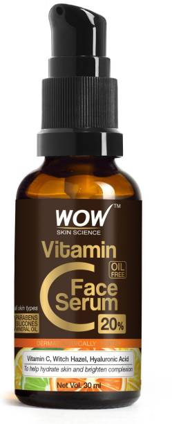 WOW SKIN SCIENCE Vitamin C - Skin Clearing Serum - Brightening, Anti-Aging Skin Repair, Supercharged Face Serum, Dark Circle, Fine Line & Sun Damage Corrector, Genuine 20%, Glass Bottle - 30mL