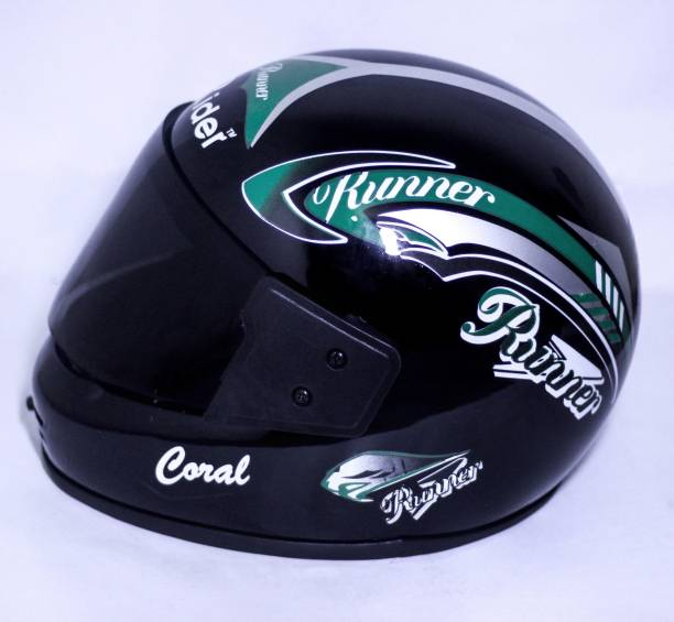 RIDER FULL FACE RUNNER GREEN AND BLACK VISOR Motorbike Helmet