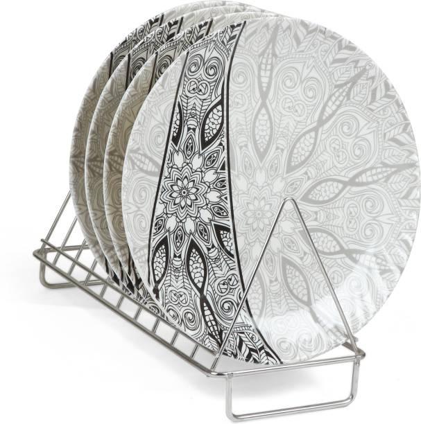 Golden Fish Printed Melamine Full Size Round Dinner Plate (Set of 4; 11 Inches) Dinner Plate