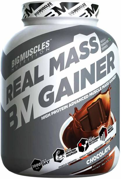 BIGMUSCLES NUTRITION Real Mass Gainer 3Kg Weight Gainers/Mass Gainers