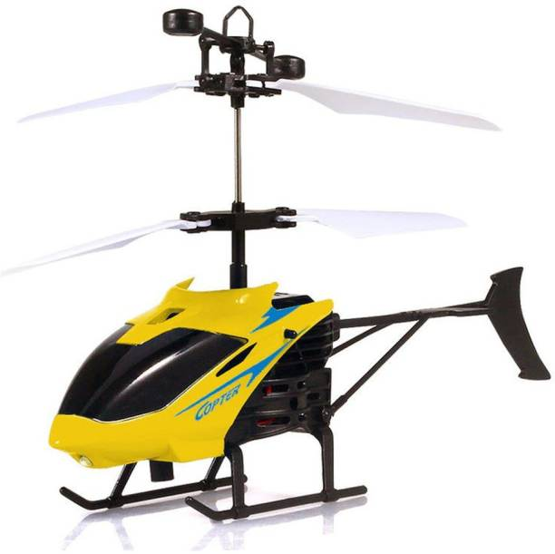 MASX Premium Quality Original Infrared Controlled Gravity Sensor LED Flying Helicopter Yellow