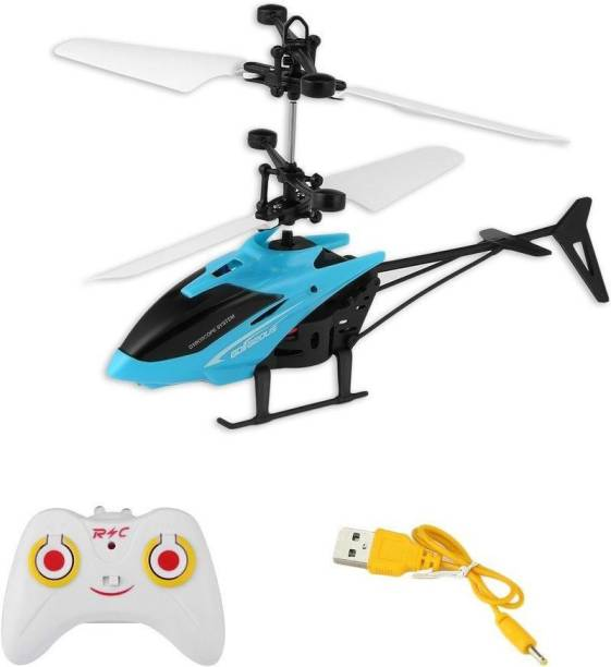 MASX Premium Quality Original Infrared Controlled Gravity Sensor LED Flying Helicopter with Remote Blue