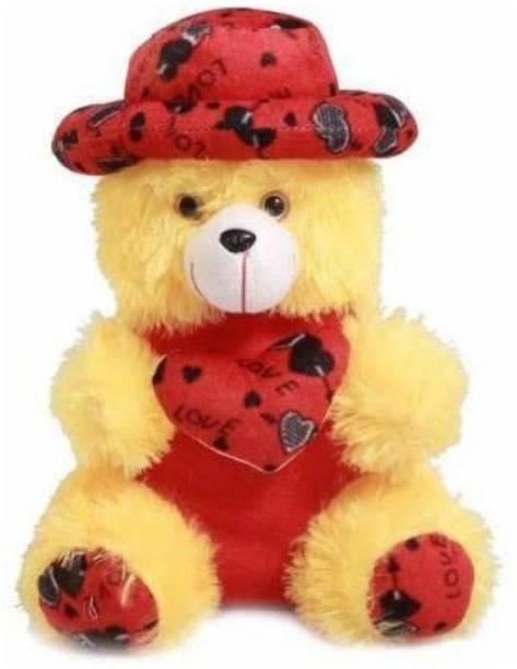 fluffies ARD Enterprise Original Express Cap Teddy,Premium Quality,Non-Toxic Super Soft Plush Stuff Toys for all age groups - 30 cm (Yellow)  - 30 cm