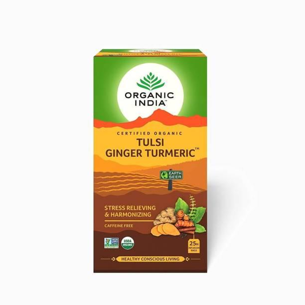 ORGANIC INDIA Tulsi Ginger Turmeric Tulsi, Turmeric Green Tea Bags Box
