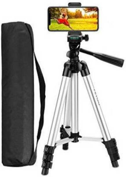 SKYTOP High Quality Tripod Stand 360 Degree 3110 Portable Digital Camera DSLR Mobile Stand Holder Camcorder Tripod Stand Adjustable Head Lightweight Aluminum Flexible Portable Three-way Head tik tok stand Compatible Al Smartphone Best Use for Make Videos on Tiktok,Vigo Video,Snapchat, YouTube Mobile Holder Tripod (Silver & Black, Supports Up to 1500 g) Tripod Kit