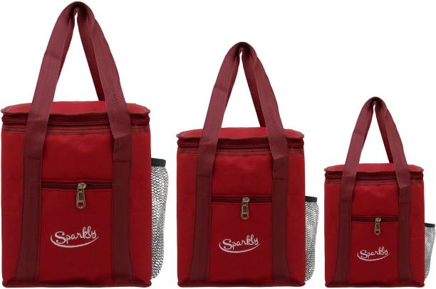 SPARKLY 3 Pees Combo Lunch Bag School Office Picnic Stylish Tiffin Bag SYMR016 ( Red ) Waterproof Lunch Bag