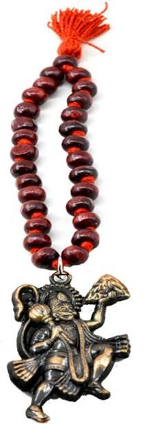 AFH Flying Hanuman Golden Red Chandan mala Car Hanging Charm spiritual Hanging Ornament Car Hanging Ornament