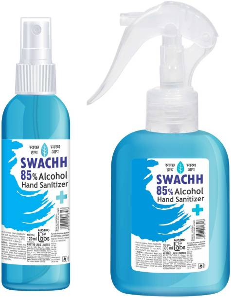 Austro Labs SWACHH 85 HAND SANITIZER LIQUID SPRAY - 300 ML + 120 ML Sanitizer Spray Bottle