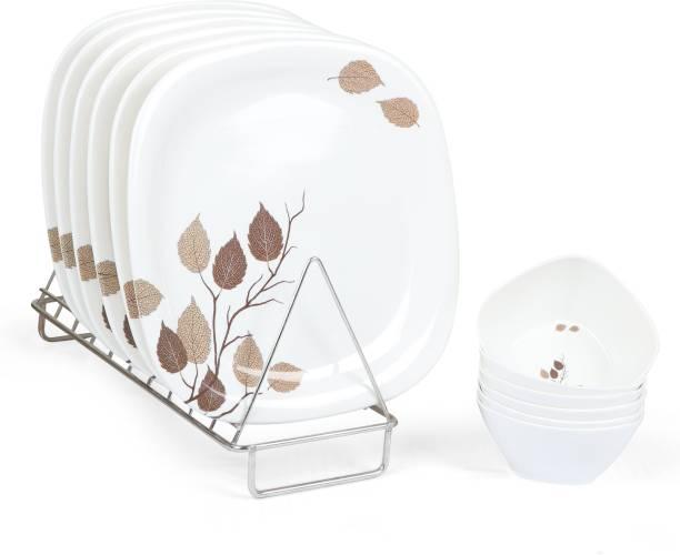 Golden Fish White Base Leaves Printed Melamine Full Size Square Dinner Plate & Veg. Bowl (Set of 6 Both; 11 Inches) Dinner Plate